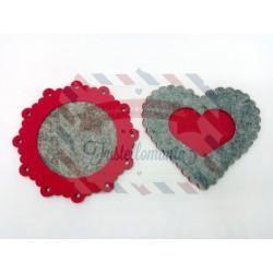 Fustella XL Doppia cornice cuore smerlato e cerchio