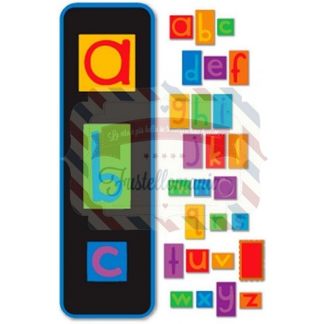 Fustella Sizzix Vowel Play Alphabet Set Lowercase minuscolo
