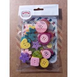 Fustellati bottoni in feltro italiano 3mm 24 pezzi