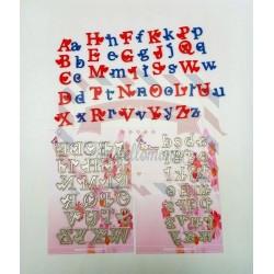 Fustella metallica Doppio Alfabeto con cuore maiuscolo e minuscolo
