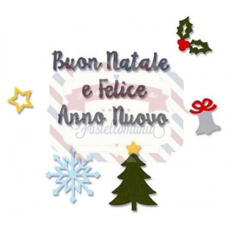 Fustella Sizzix Thinlits Auguri di Natale