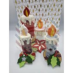 Fustella L Candela 3D con agrifoglio e fiore