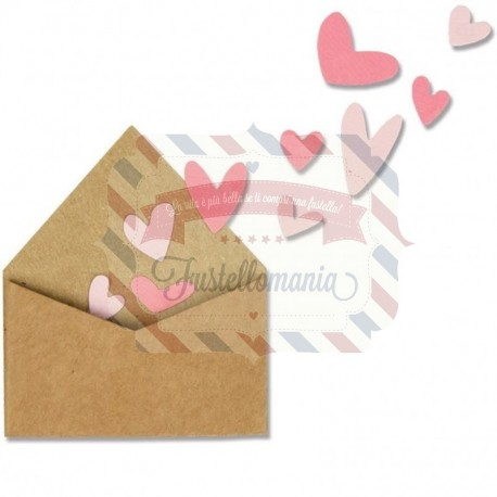 Fustella Sizzix Thinlits set with love envelope with hearts