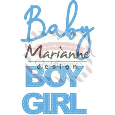 Fustella metallica Marianne Design Creatables Baby text boy & girl