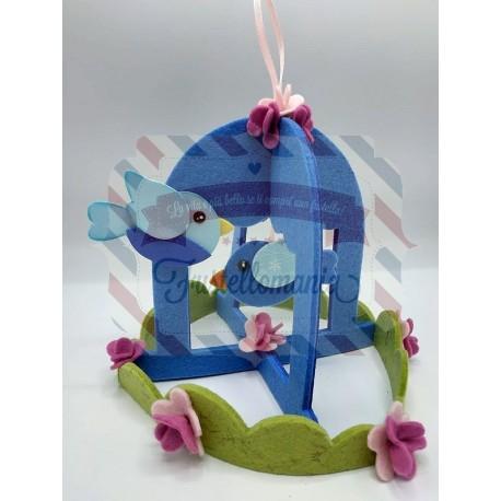 Fustella L Gabbietta 3D con uccellino erba e fiore