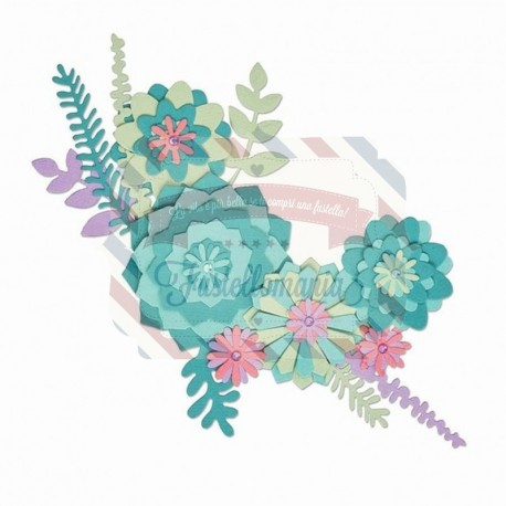 Fustella Sizzix Thinlits succulent wreath