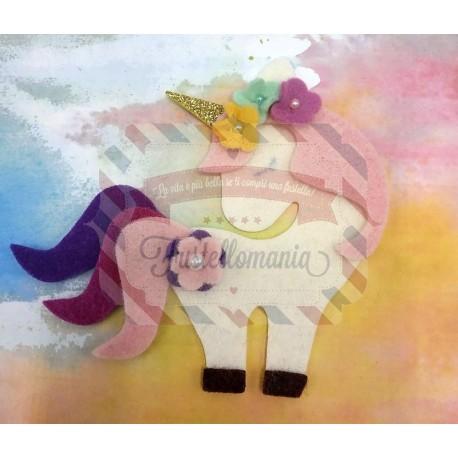 Fustella M Unicorno con fiorellini