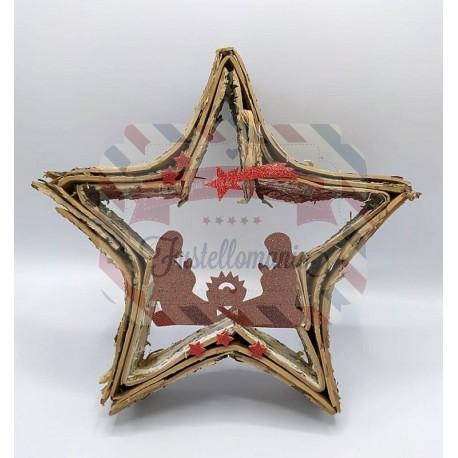 Fustella M Natività con stella cometa e stelline
