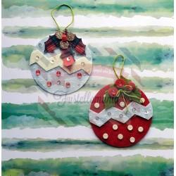 Fustella L Pallina di Natale con neve decorazioni e vischio