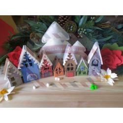 Fustella XL Villaggio natalizio 3D + elementi porte e finestre