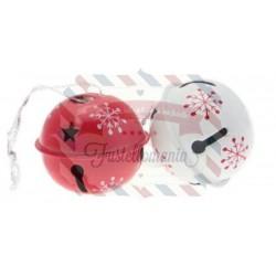 Sonagli natalizi 6 pezzi 38 mm rosso/bianco