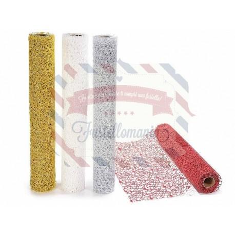 Rotolo di rete decorativa con glitter colore a scelta 4,5 mt