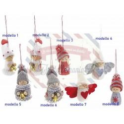 Angelo e folletto natalizi in panno e maglia da appendere modello a scelta