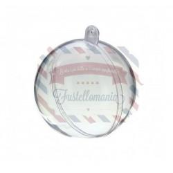Pallina di plastica trasparente apribile 2 parti - 16 cm