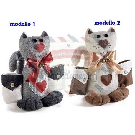 Gatto in feltro con tasche portatelecomando modello a scelta