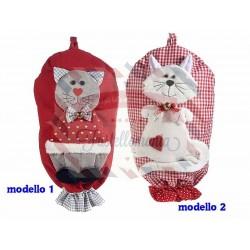 Portasacchetti con gatto in feltro da appendere modello a scelta