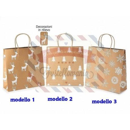 Sacchetto carta kraft con decori natalizi in rilievo modello a scelta