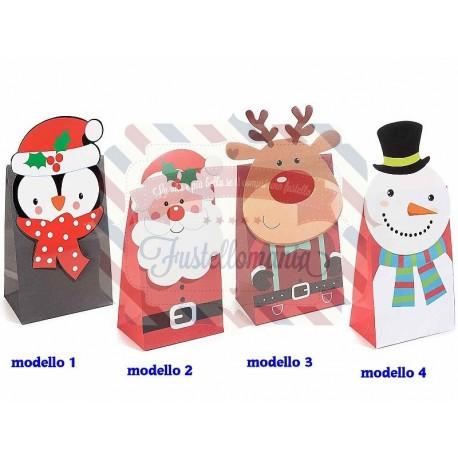 Sacchetto carta naturale personaggi natalizi modello a scelta