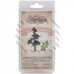 Fustella Sizzix Tim Holtz Movers & Shapers Mini Pine Tree & Holly Set