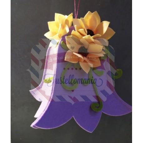 Fustellato campana grande con fiori e ramo