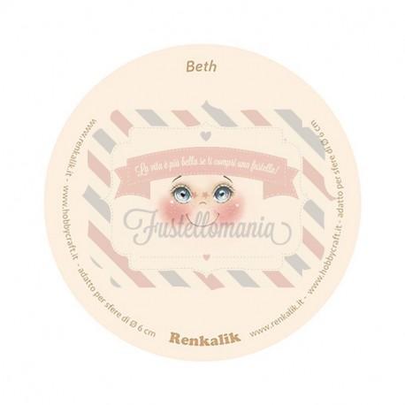 Viso stampato su tessuto Beth 13 cm per sfere da 6 cm