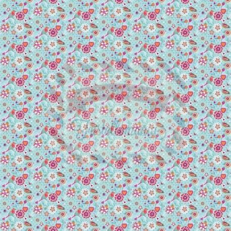 Tessuto 100% cotone 45x50 cm light blue floral