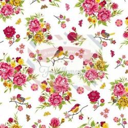 Tessuto 100% cotone 45x50 cm romantic white floral
