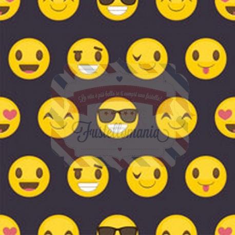 Tessuto per mascherine Interlock 50x40 cm smile emoji
