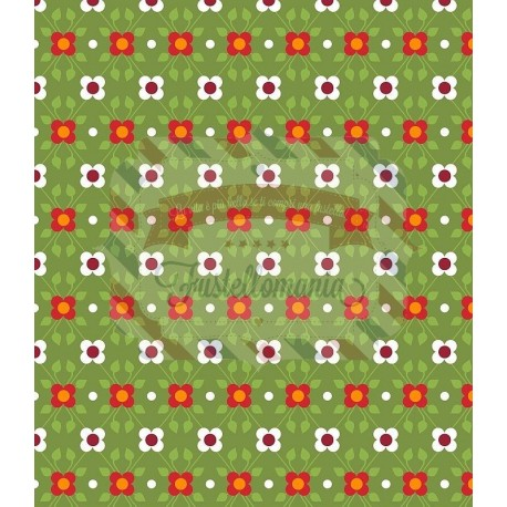 Tessuto 100% cotone 45x50 cm retro green floral