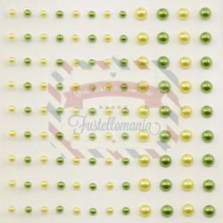 Mezze perline adesive 3-5 mm 108 pezzi verde e giallo