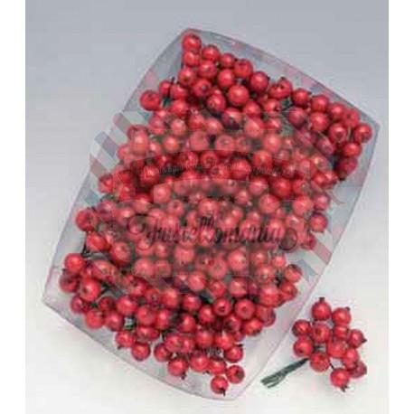 Mazzetto di bacche x12 14mm rosso