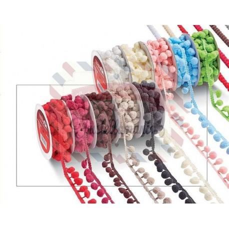 Nastro pompon bordato 20 mm x 1 metro colore a scelta