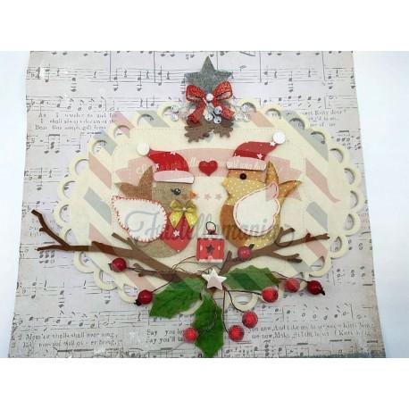 Fustella M Pettirosso con cappello di Babbo Natale e vischio