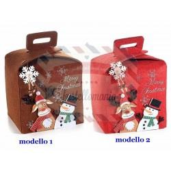 Borsa a cestino natalizio in panno con personaggi natalizi in rilievo