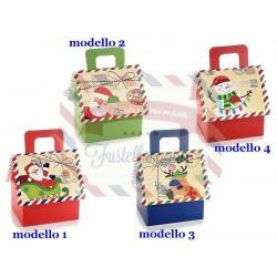 Scatoline regalo a casetta di Natale in carta stampata con manico modello a scelta