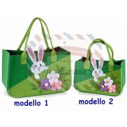Borsa in panno verde con coniglio e fiori modello a scelta