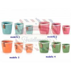Set 3 vasi in ceramica lucida con bordo bianco e tag modello a scelta