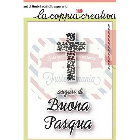 Fustella metallica Timbro Croce fiorito con auguri