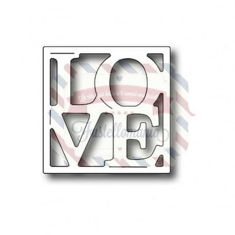 Fustella metallica Vignetta Love quadrata