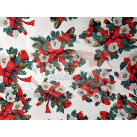 Pannolenci stampato 1mm fantasia Natale con fiocco 50x40 cm