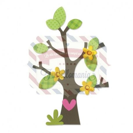 Fustella Sizzix Bigz Abero con fiore cuore e foglie