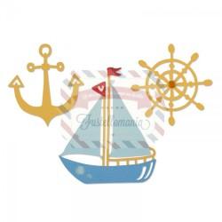 Fustella Sizzix Thinlits Compagni di vela Barca Timone e Ancora