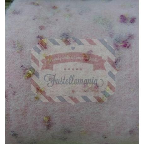 Nastro feltro profumato - Rosa con fiori secchi