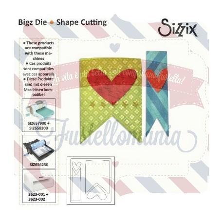 Fustella Sizzix Bigz Cane Banner e cuori