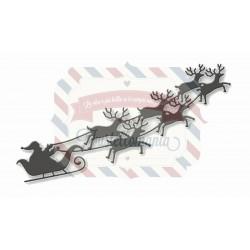 Fustella metallica Babbo Natale con renne