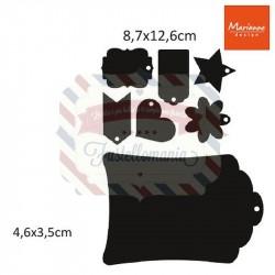 Fustella metallica Marianne Design Craftables label XL & labels XS