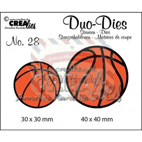Fustella metallica Crealies Duo dies Basketballs 28