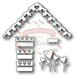 Fustella metallica PoppyStamps Love Cottage Roof and Decor