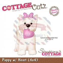 Fustella metallica Cottage Cutz Puppy w Heart