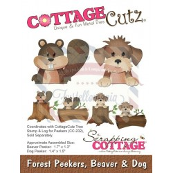 Fustella metallica Cottage Cutz Forest Peekers, Beaver & Dog